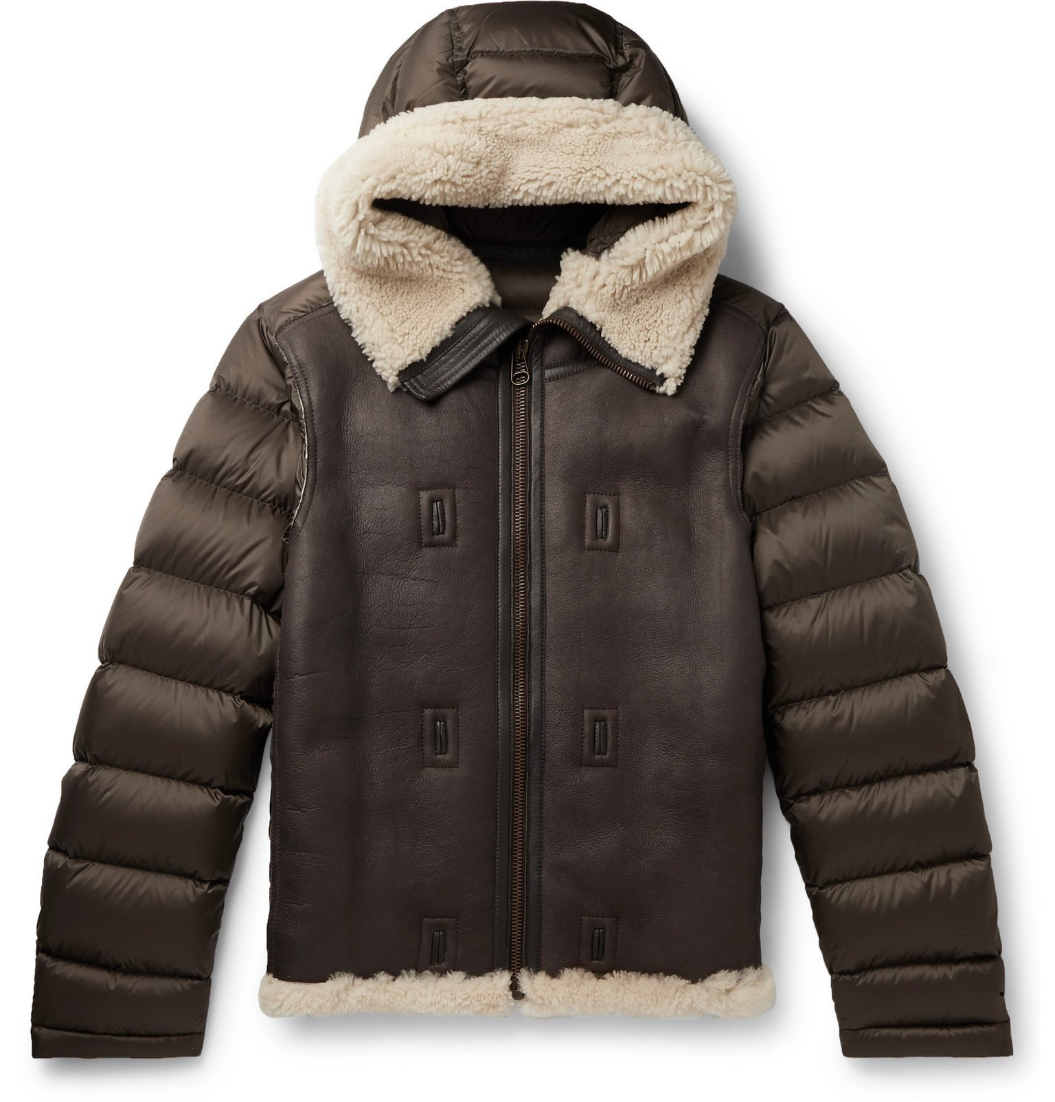 Photo: Ten C - Shearling-Trimmed Quilted Shell Hooded Down Liner - Brown
