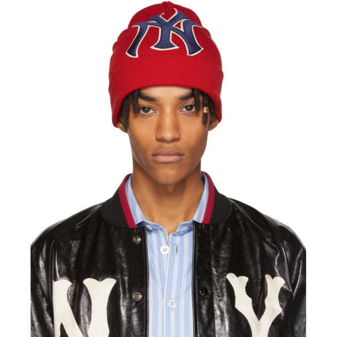 Photo: Gucci Red NY Yankees Edition Patch Beanie