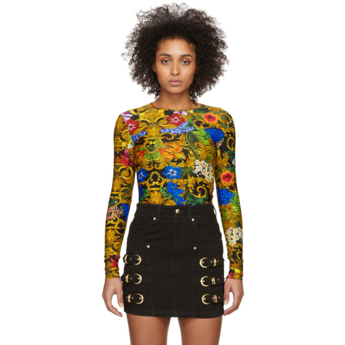 Versace Jeans Couture Multicolor Tropical Barocco Print Bodysuit