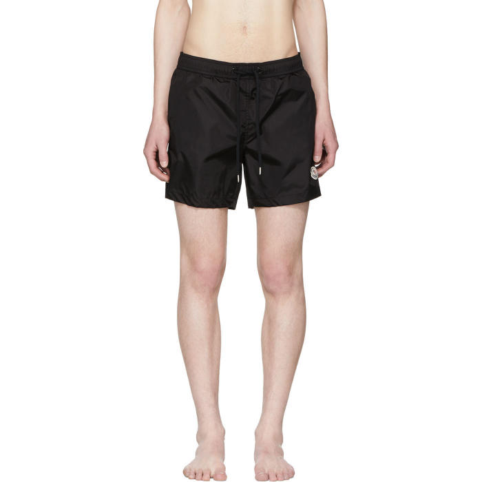 Moncler Black Small Logo Swim Shorts