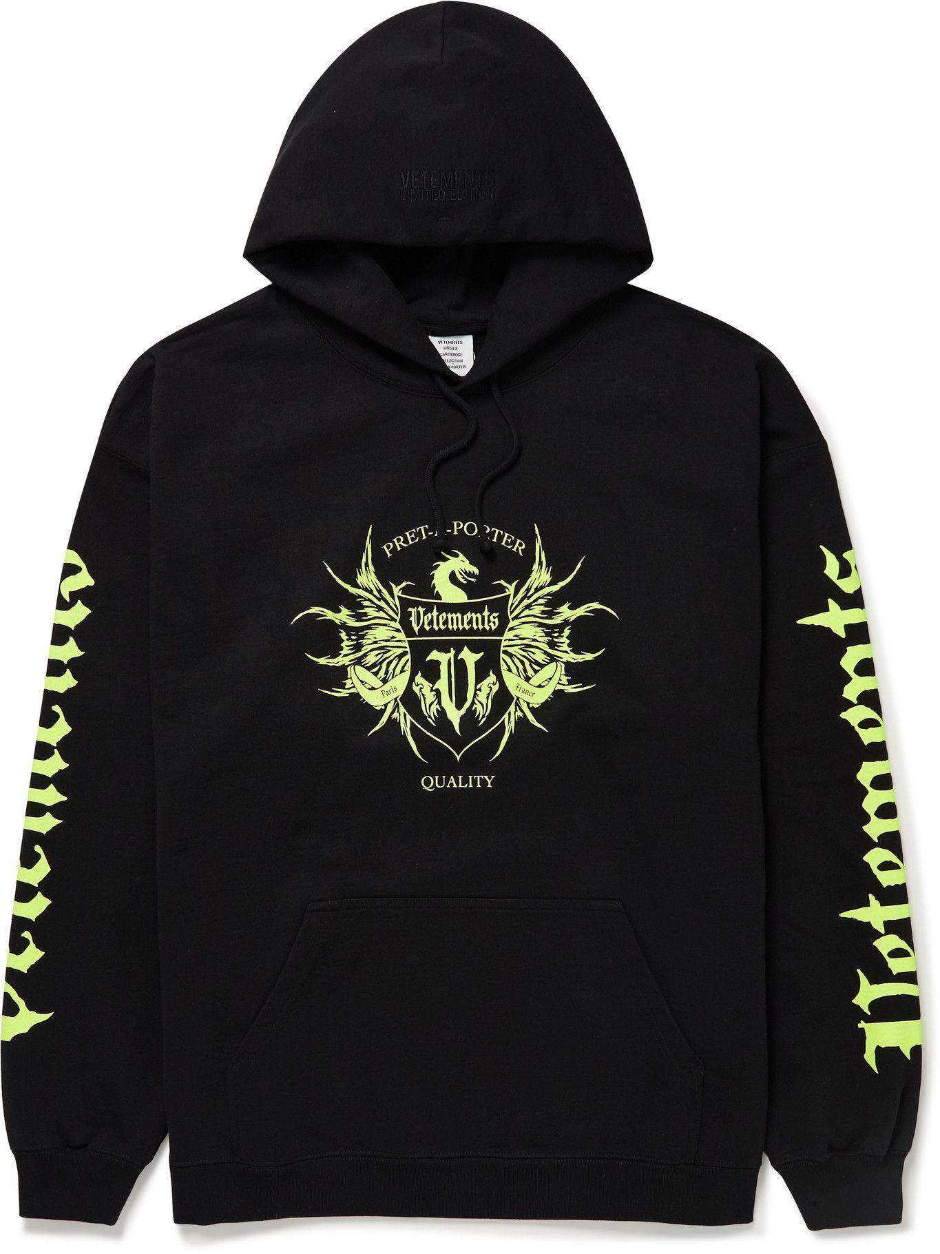 Photo: Vetements - Logo-Print Cotton-Jersey Hoodie - Black
