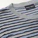 GIORGIO ARMANI - Striped Cotton-Jacquard T-Shirt - Gray - IT 46