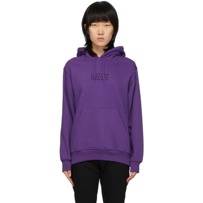032c Purple Embroidered Logo Hoodie