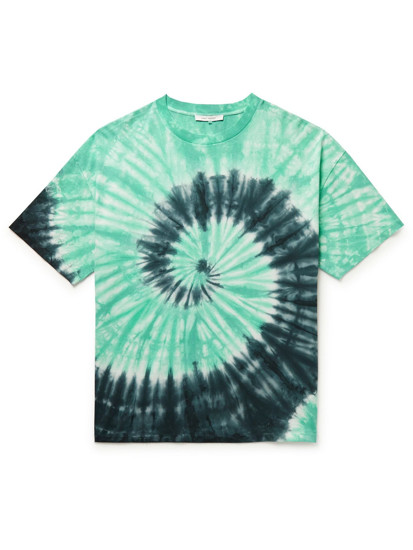 Photo: Ninety Percent - Boxy Tie-Dyed Organic Cotton-Jersey T-Shirt - Green
