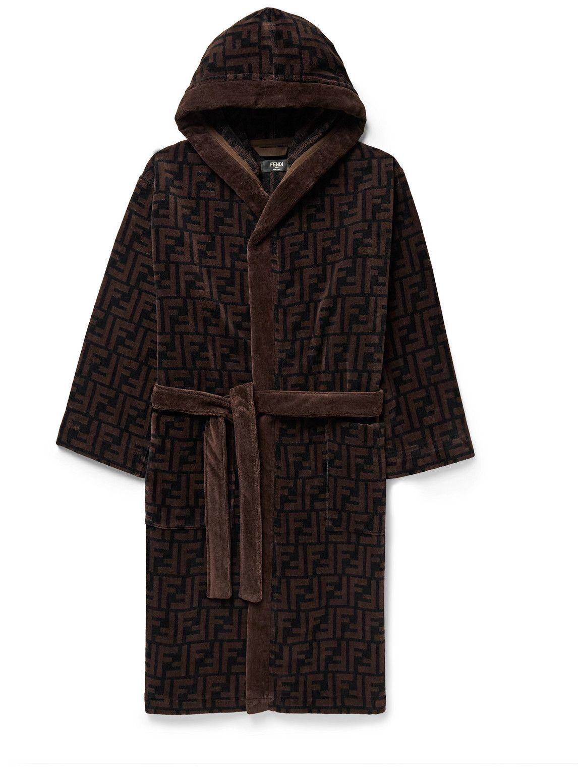 Photo: Fendi - Logo-Print Cotton-Velour Hooded Robe