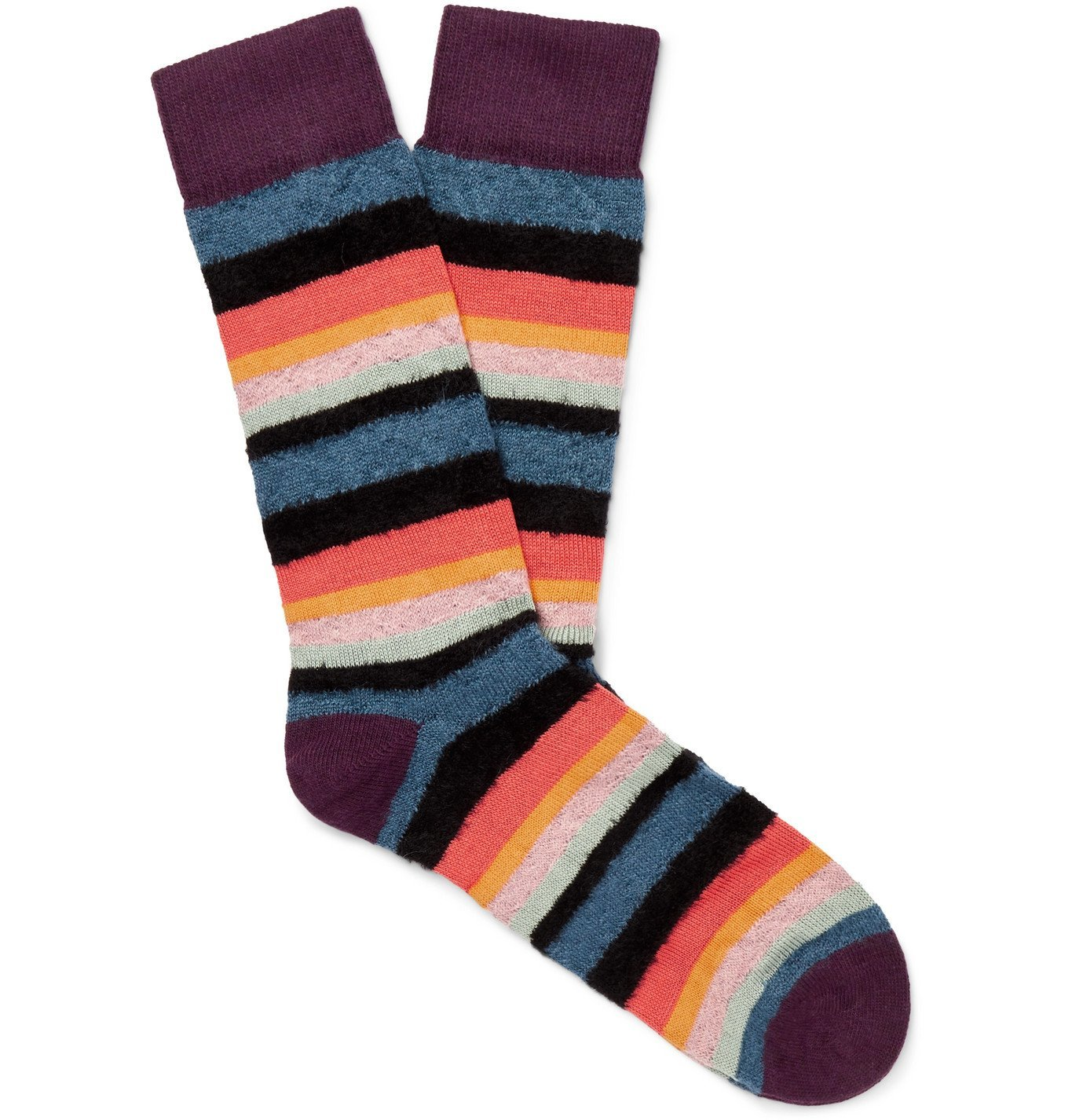 Photo: PAUL SMITH - Striped Textured-Knit Socks - Multi