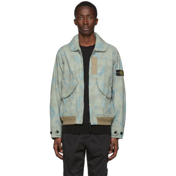 Photo: Stone Island Green and Grey Camouflage Devore Watro Jacket