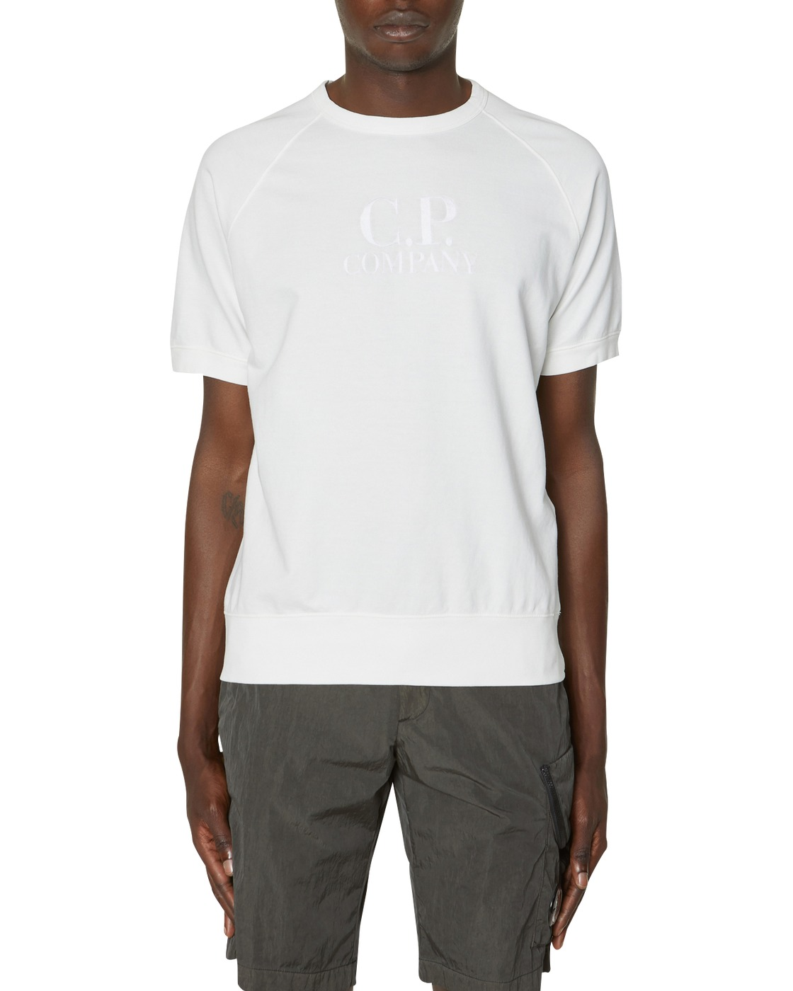 Photo: C.P. Company Short Sleeve Crewneck Sweatshirt Gauze White