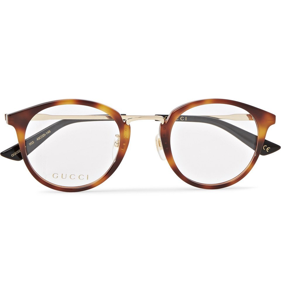 798228ffc54 Gucci - Round-Frame Tortoiseshell Acetate and Gold-Tone Optical Glasses -  Men -
