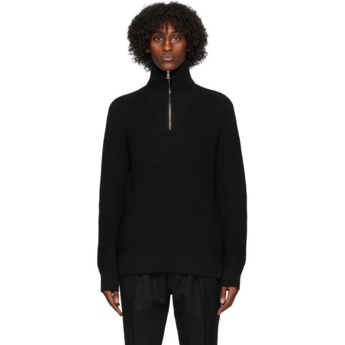 Photo: Officine Generale Black Wool Half-Zip Turtleneck