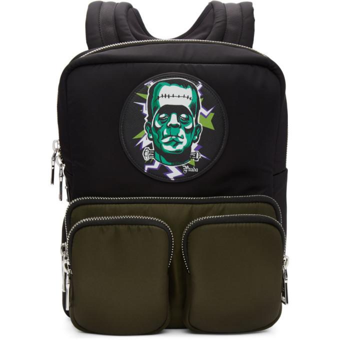 Photo: Prada Black Universal Studios Edition Frankenstein Logo Backpack