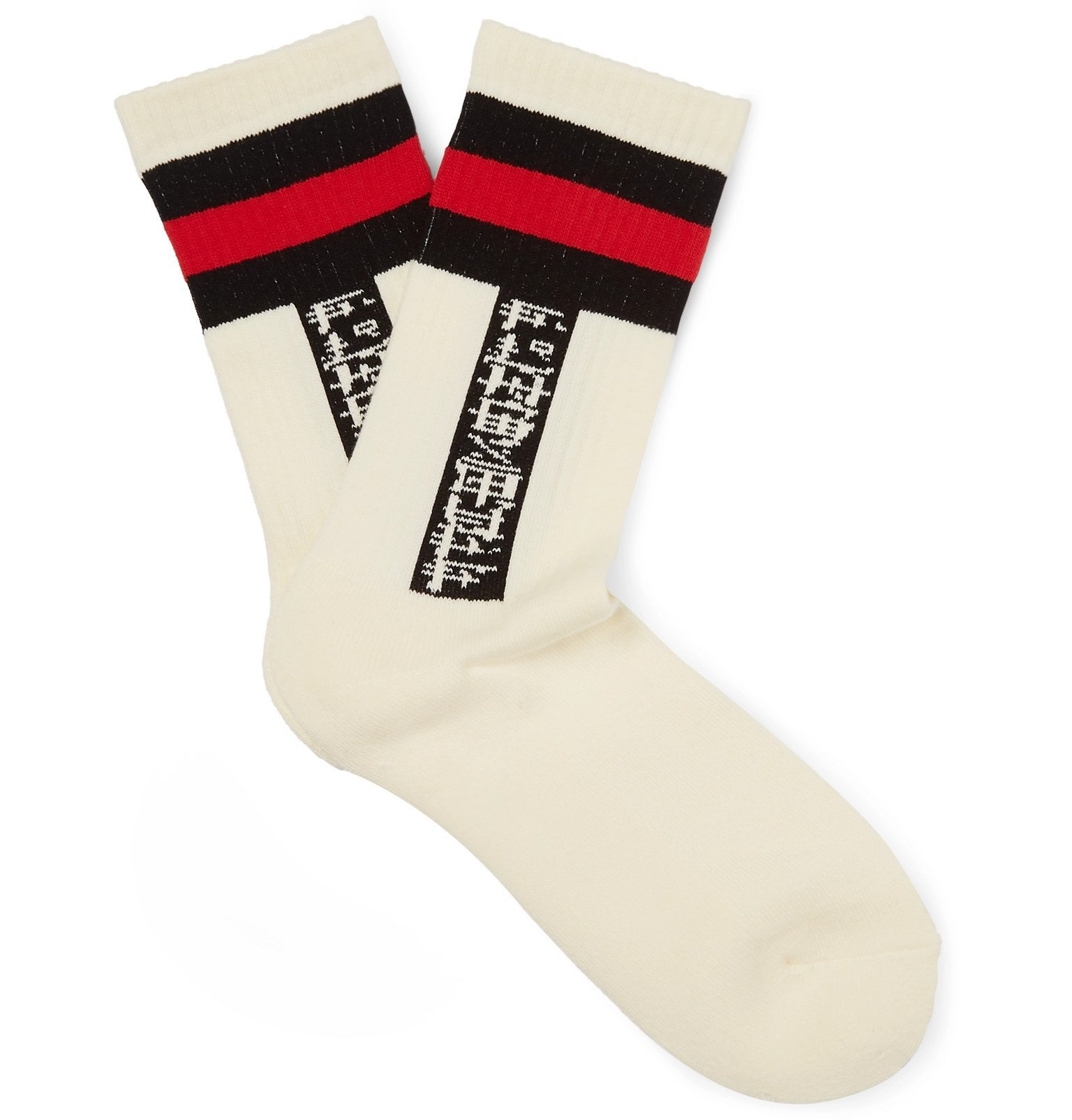 Photo: Flagstuff - Logo Jacquard-Knit Socks - White