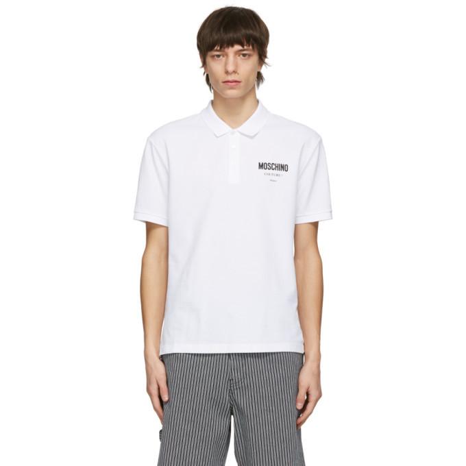 Photo: Moschino White Logo Print Polo