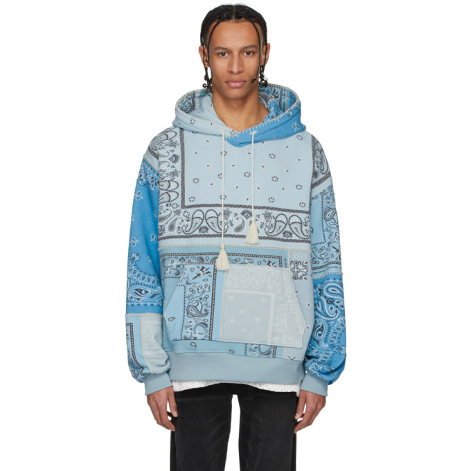 Photo: Amiri Blue Oversized Bandana Reconstructed Hoodie