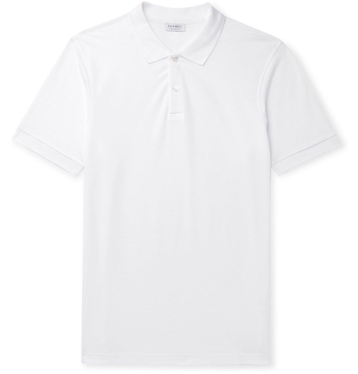 Sunspel - Cotton-Piqué Polo Shirt - White