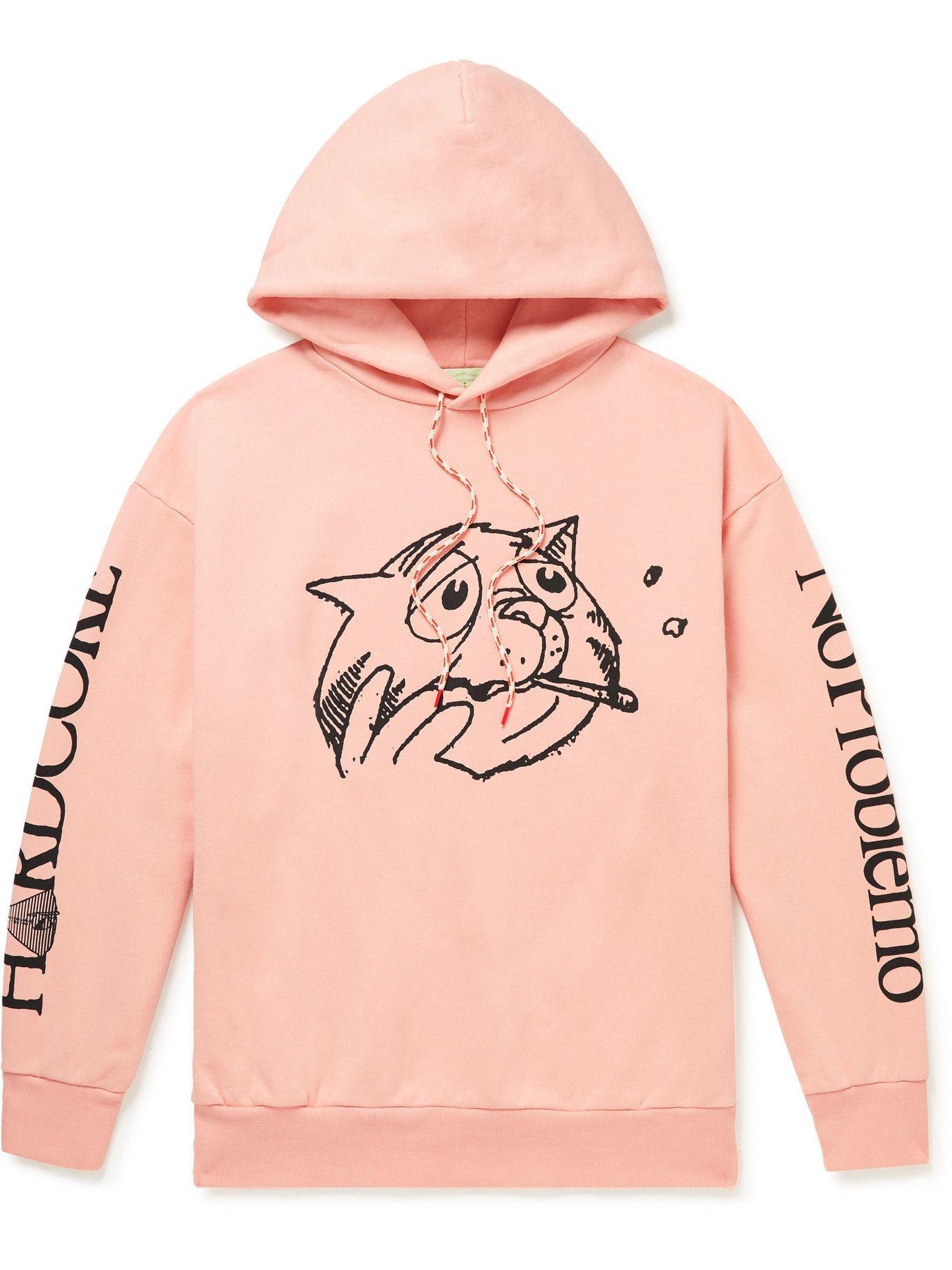 Aries - Printed Cotton-Jersey Hoodie - Pink
