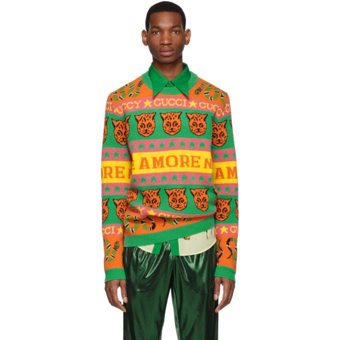 Photo: Gucci Orange and Green Wool Jacquard Symbols Sweater
