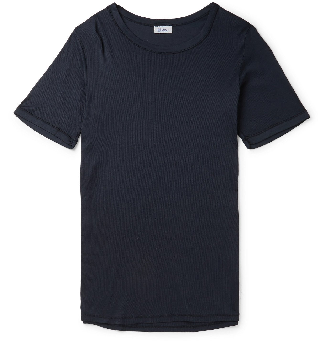 Schiesser - Heinrich Slim-Fit Ribbed Cotton-Jersey Pyjama T-Shirt - Blue