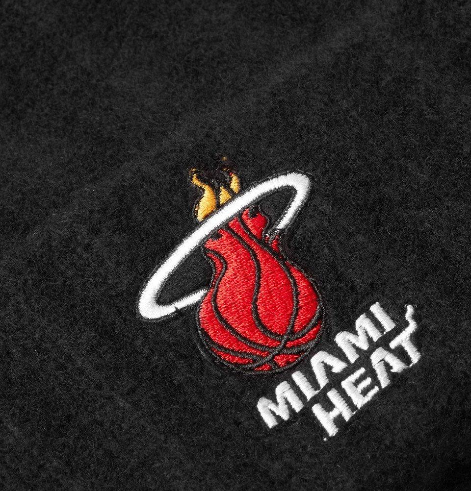 The Elder Statesman - NBA Miami Heat Appliquéd Ribbed Cashmere Beanie - Black