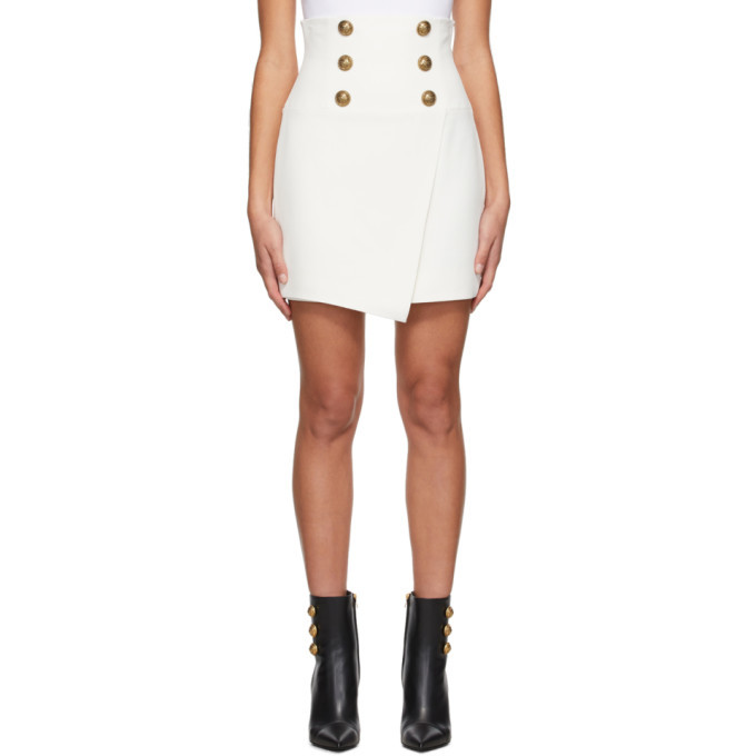 Photo: Balmain White Crepe High-Waisted Miniskirt