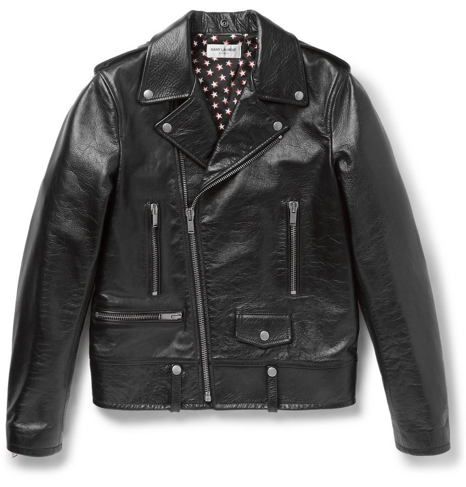 Photo: Saint Laurent - Full-Grain Leather Biker Jacket - Men - Black