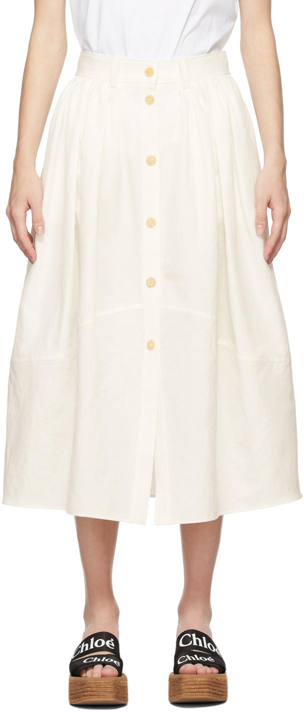 Photo: Chloé Off-White Linen Canvas Skirt