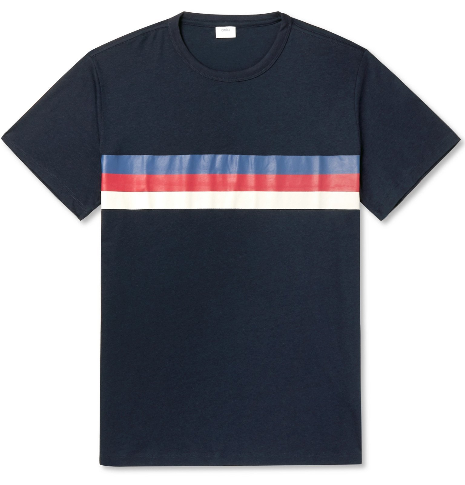 Photo: Onia - Johnny Striped Modal and Cotton-Blend Jersey T-Shirt - Blue