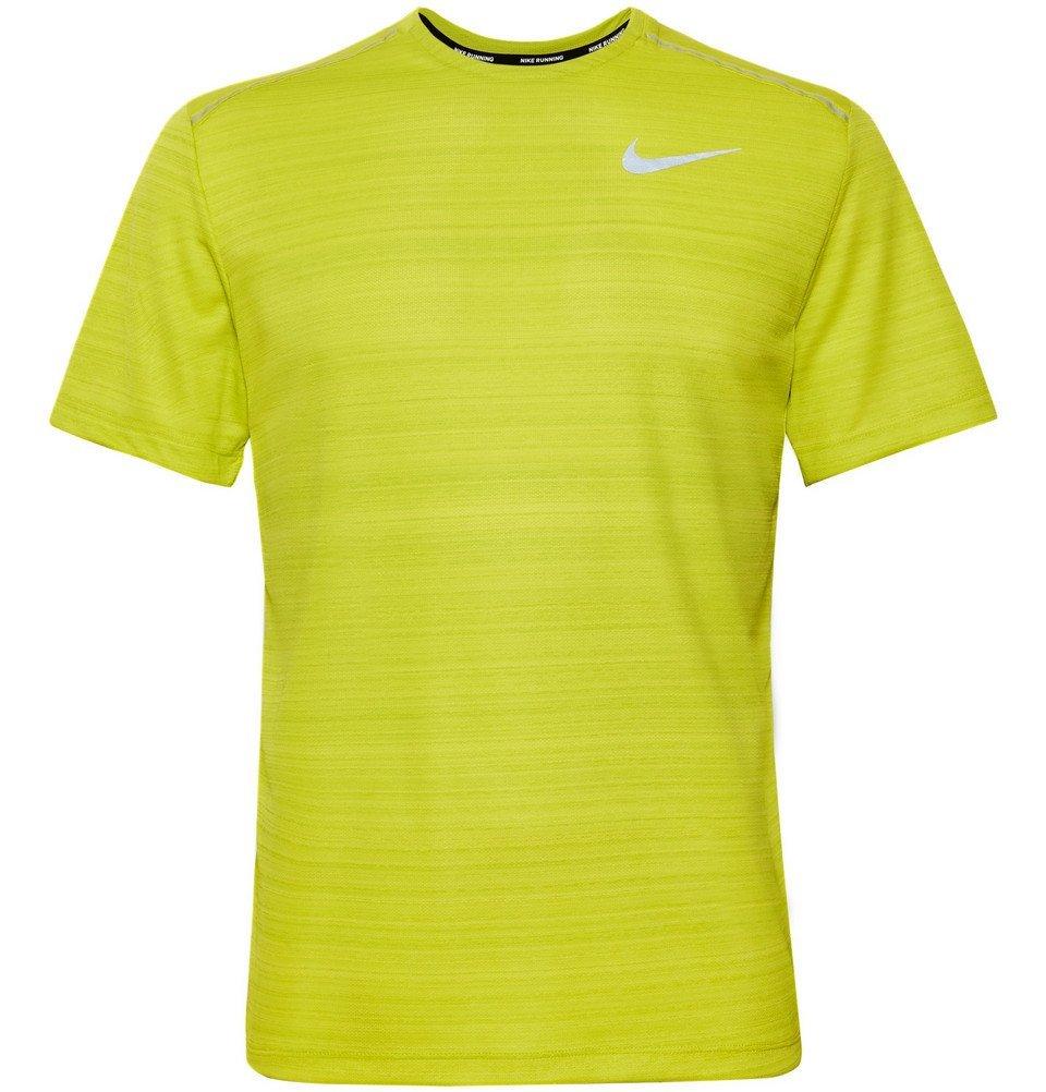 Photo: Nike Running - Miler Logo-Print Breathe Dri-FIT T-Shirt - Chartreuse