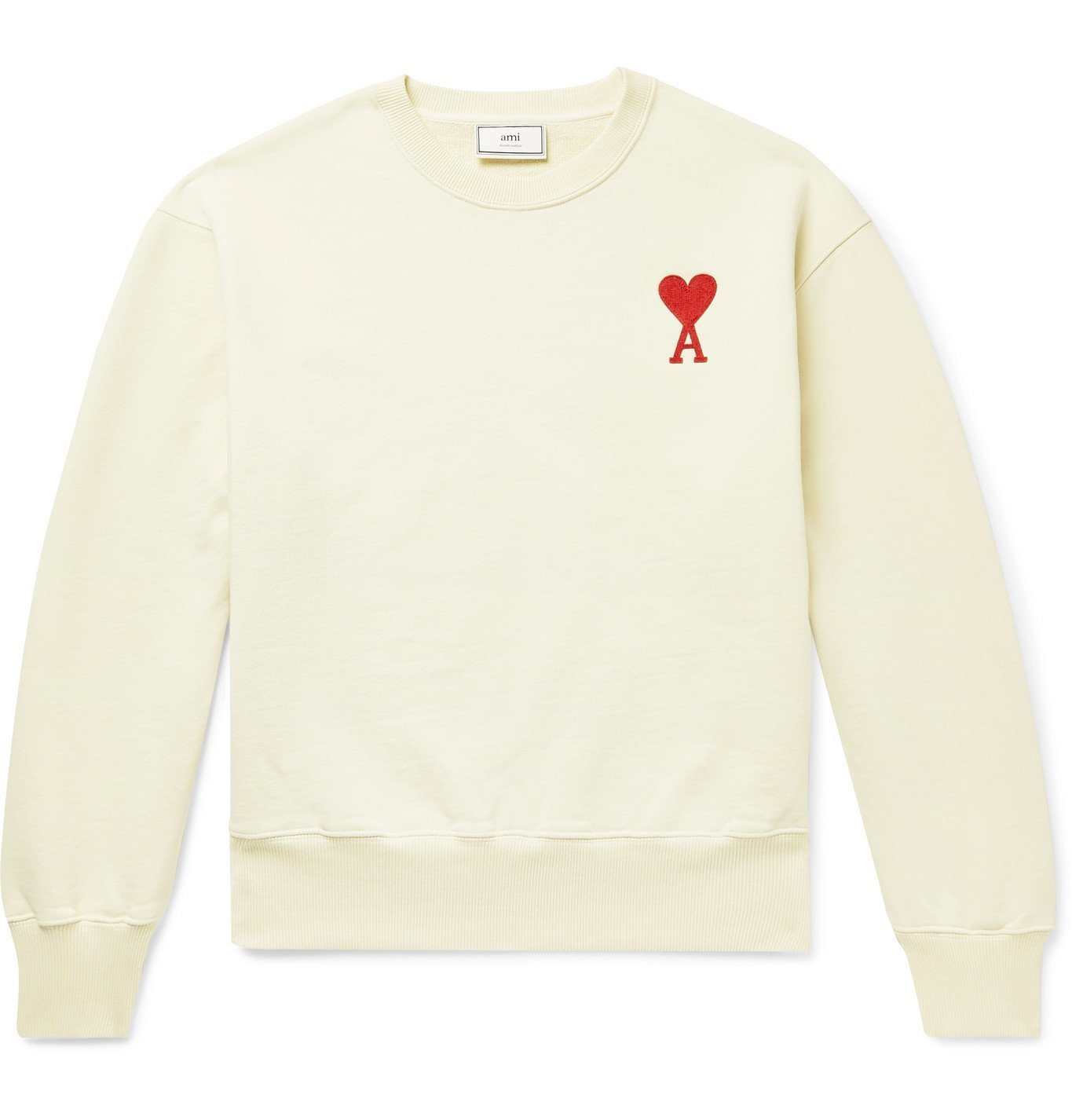 Photo: AMI - Logo-Appliquéd Loopback Cotton-Jersey Sweatshirt - Neutrals