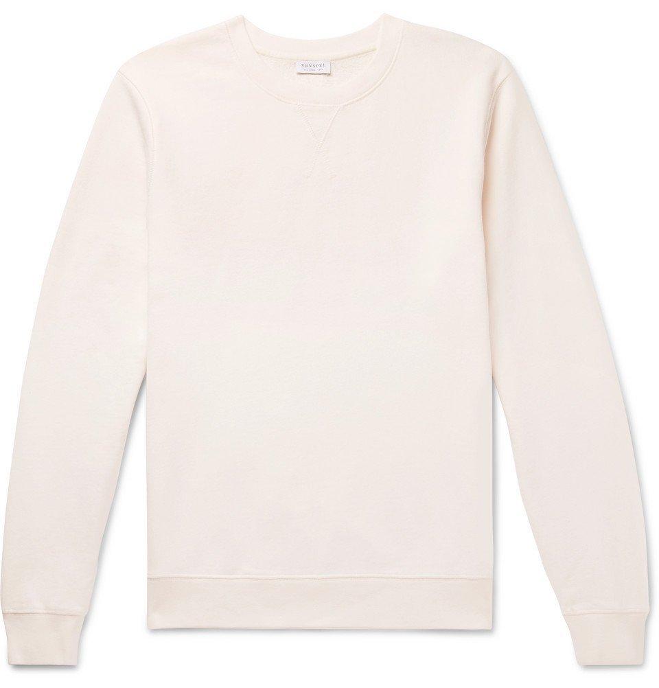 Sunspel - Loopback Cotton-Jersey Sweatshirt - Cream