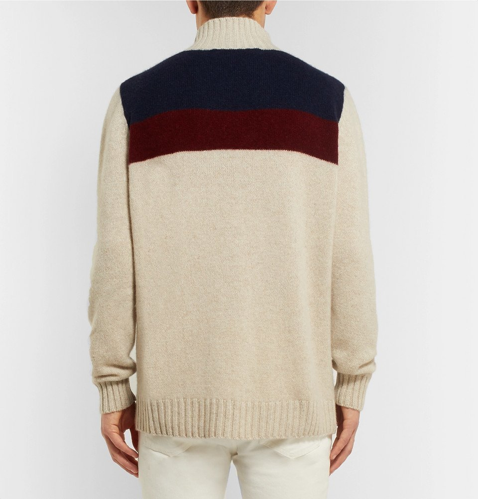 The Elder Statesman - Colour-Block Cashmere Turtleneck Sweater - Off-white