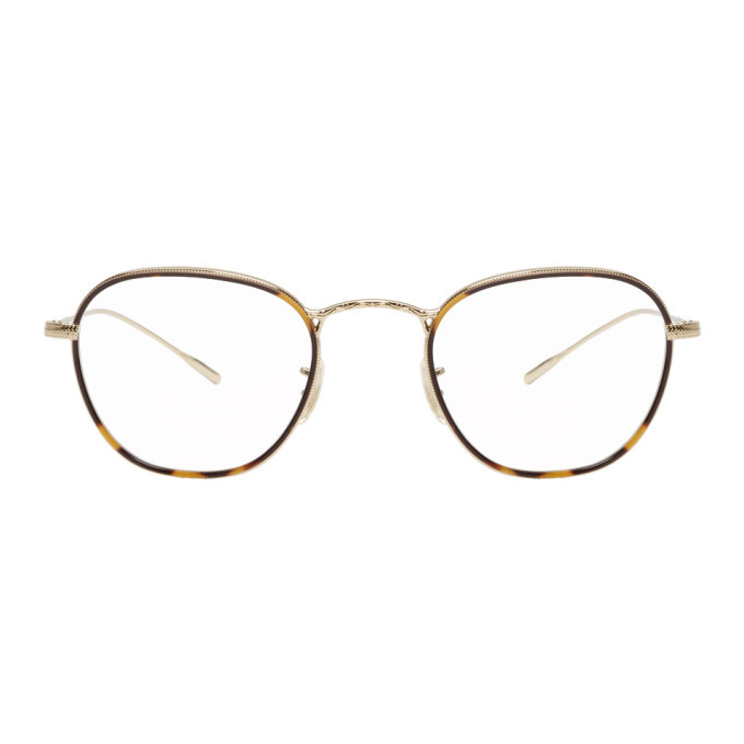 Oliver Peoples Gold and Tortoiseshell Eoin Glasses