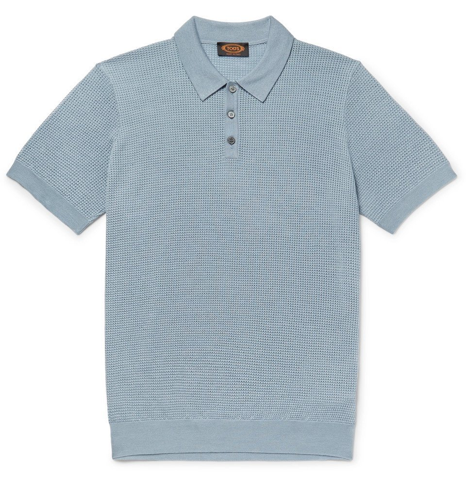Photo: Tod's - Slim-Fit Textured Merino Wool and Silk-Blend Polo Shirt - Light blue
