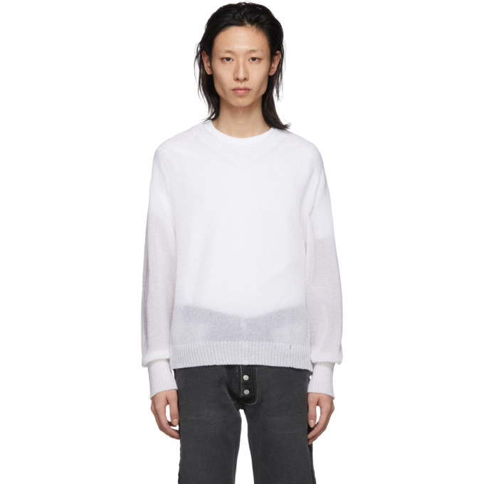 Photo: Our Legacy White Bubble Knit V-Neck Sweater