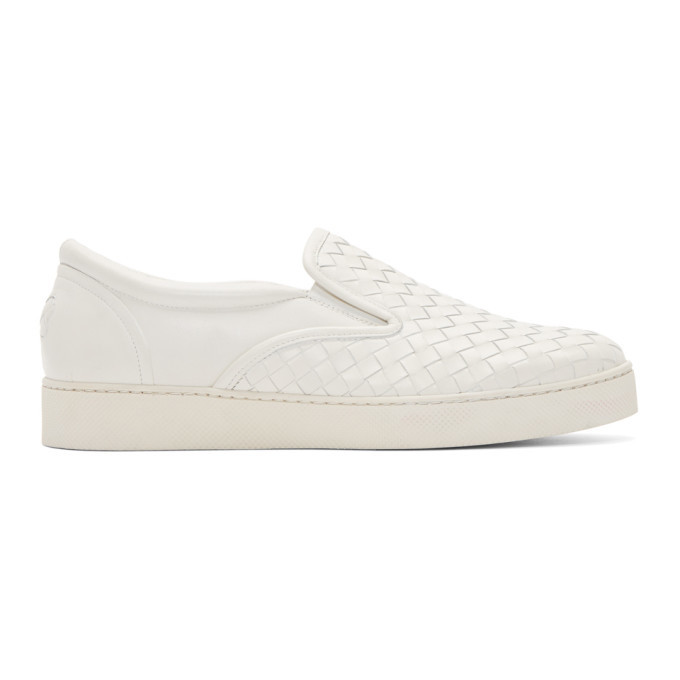 Photo: Bottega Veneta White Intrecciato Sneakers