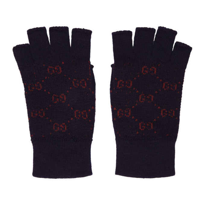 Photo: Gucci Navy and Red GG Supreme Fingerless Gloves