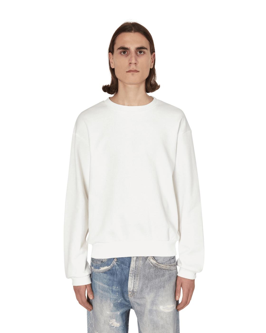 Kapital Smiley Elbow Patch Crewneck Sweatshirt White
