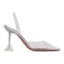Amina Muaddi Silver Glass Holli Heels