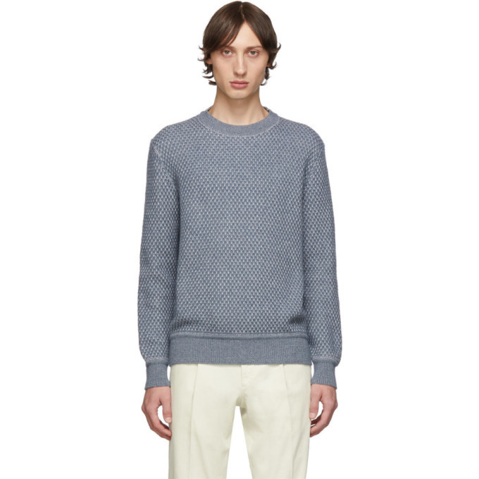 Photo: Ermenegildo Zegna Blue and Grey Cashmere and Silk Sweater