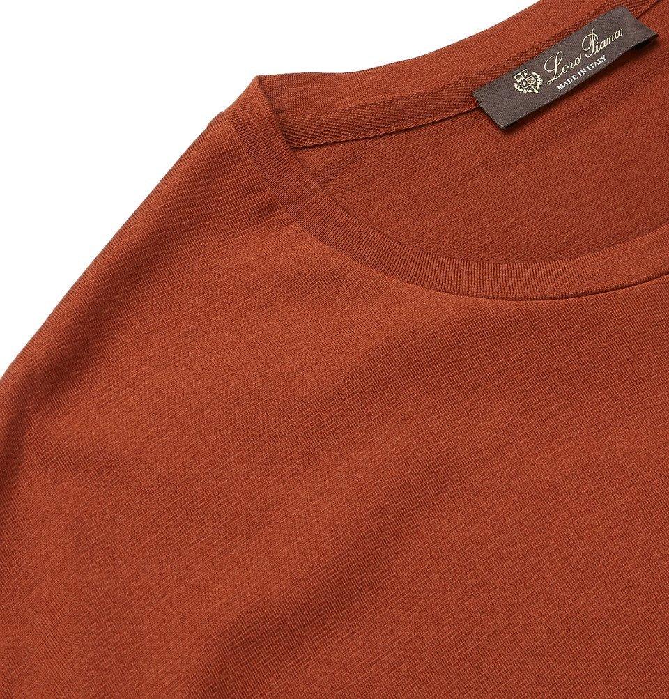 Loro Piana - Slim-Fit Silk and Cotton-Blend Jersey T-Shirt - Orange
