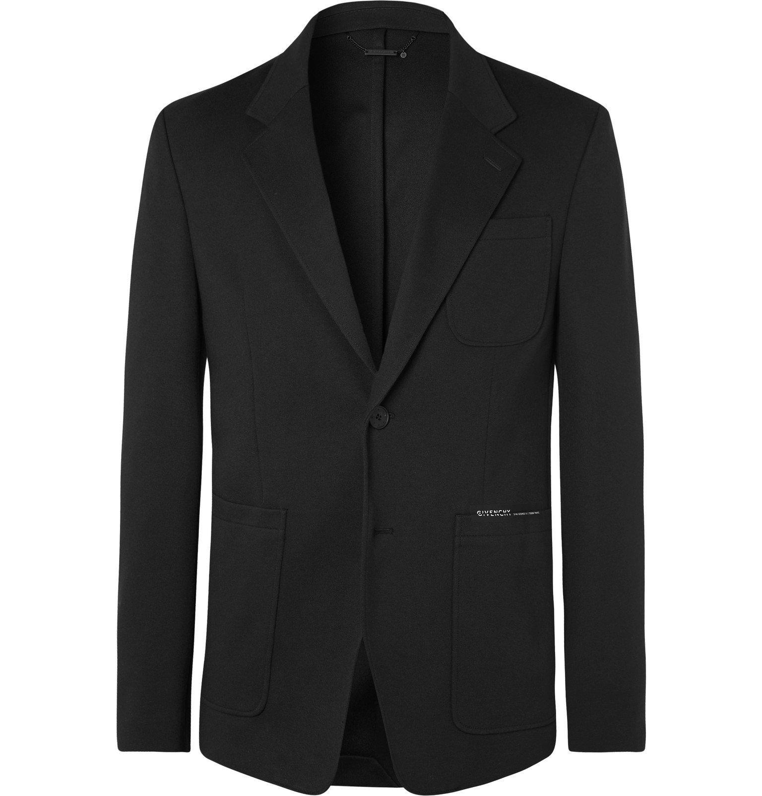 Photo: Givenchy - Black Logo-Print Tech-Jersey Blazer - Black