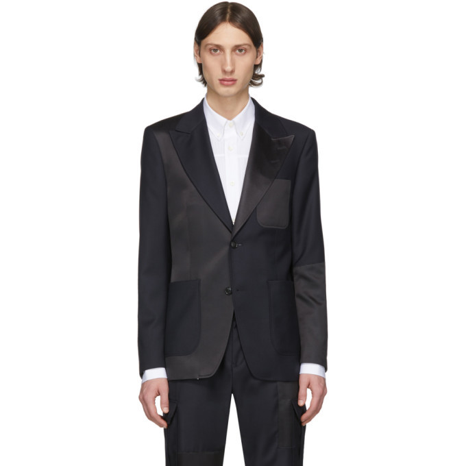 Photo: Tiger of Sweden Black and Navy Wool Javio Blazer