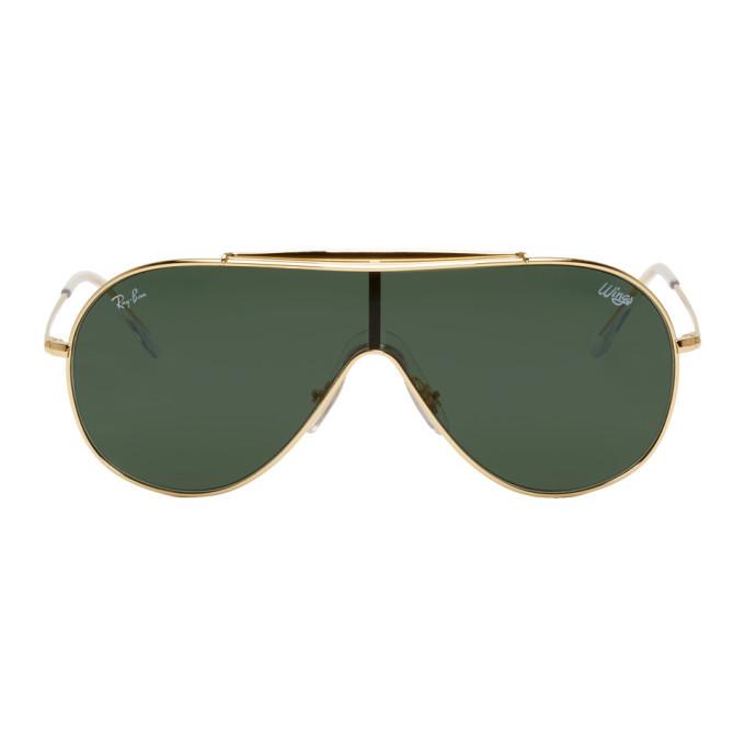 Photo: Ray-Ban Gold and Green Pilot Wings Sunglasses