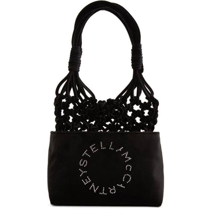 Stella McCartney Black Velvet Mini Logo Knotted Tote