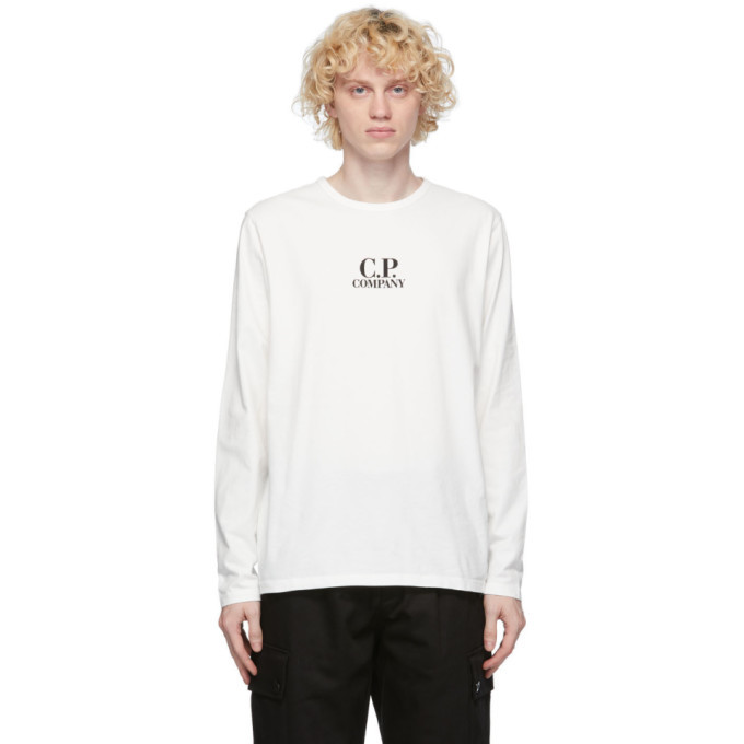 C.P. Company White Logo Long Sleeve T-Shirt