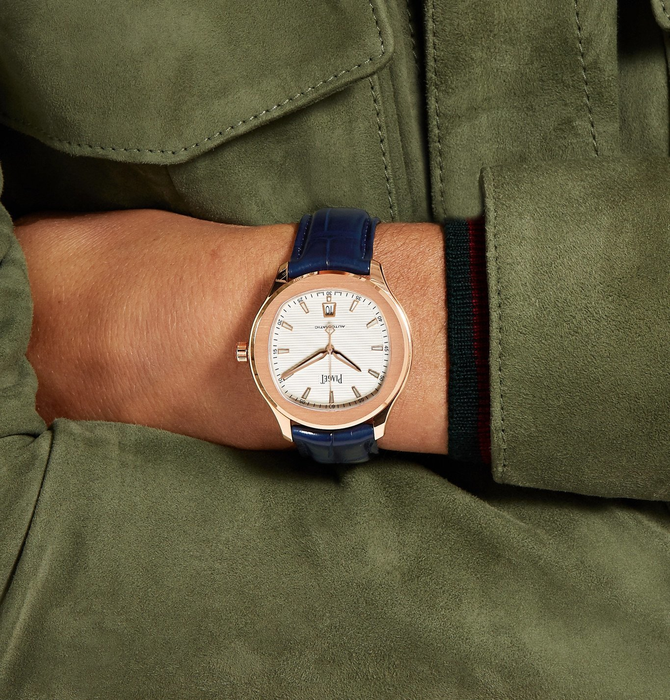 Piaget - Polo S Automatic 42mm 18-Karat Rose Gold and Alligator Watch, Ref. No. G0A43010 - Blue