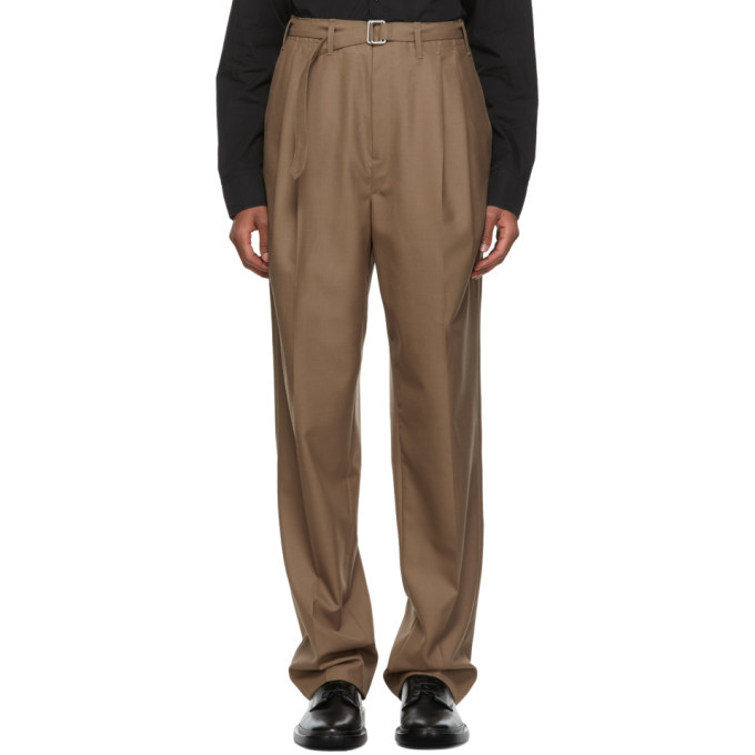 Photo: Lemaire Brown Belted Pleats Trousers