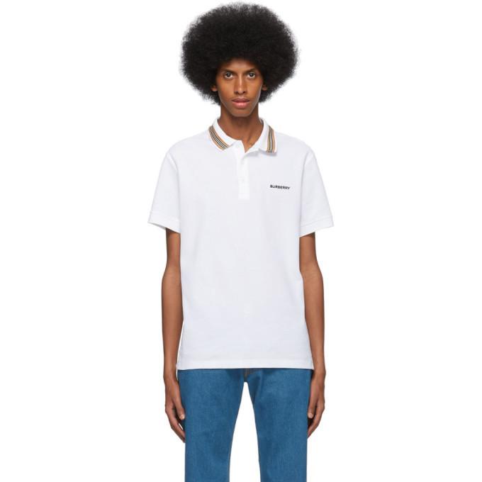 Photo: Burberry White Icon Stripe Collar Polo