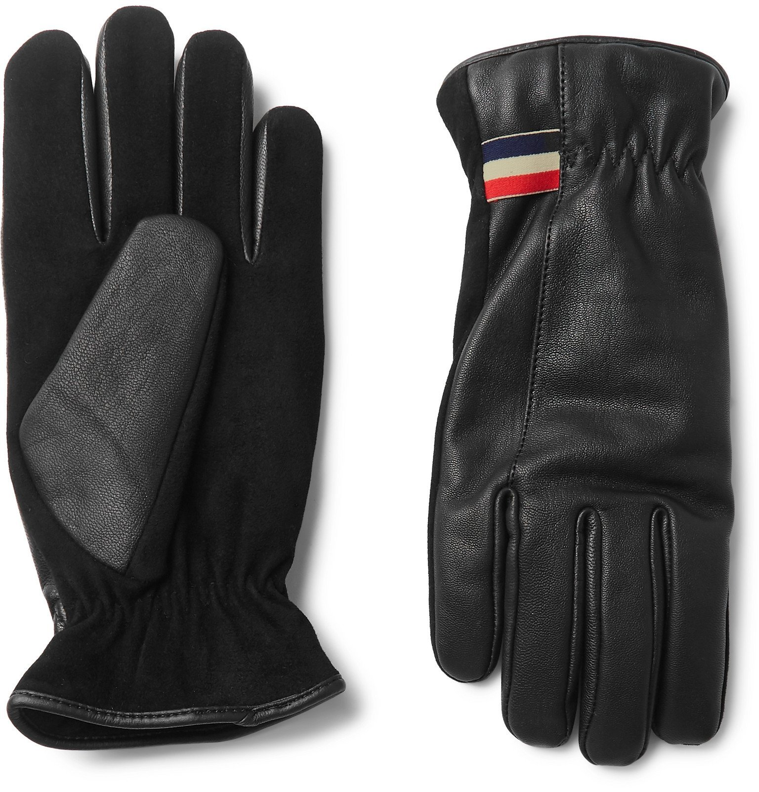 Photo: Moncler - Panelled Leather and Nubuck Skiing Gloves - Black