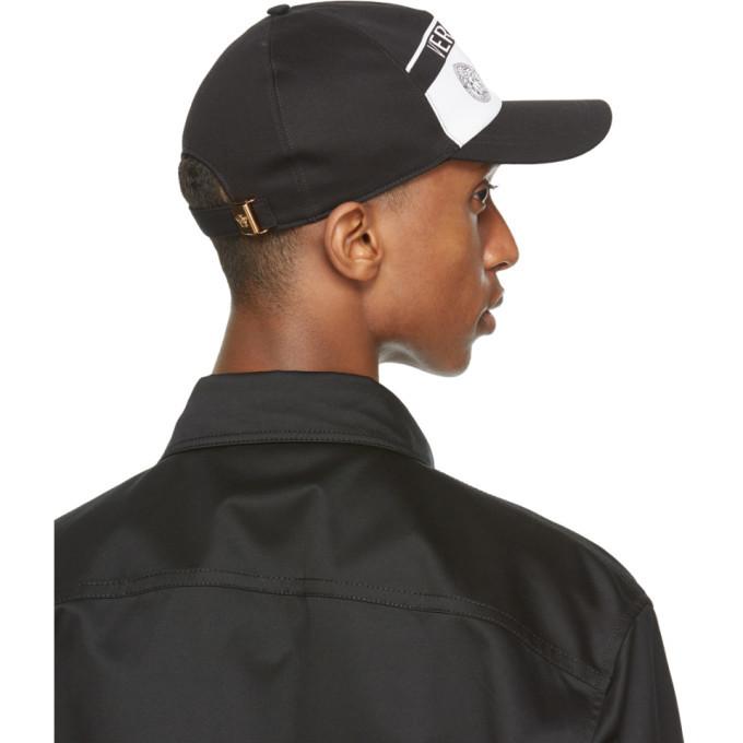 Versace Black and White Triple Medusa Cap